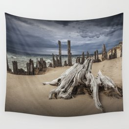 Tree Stump and Pilings on the Beach at Kirk Park by Grand Haven Michigan Wall Tapestry