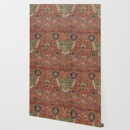 Persian Medallion Rug IV // 16th Century Distressed Red Green Blue Flowery Colorful Ornate Pattern Wallpaper