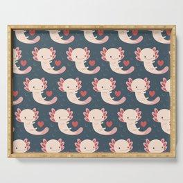 Axolotls, hearts and bubbles Serving Tray