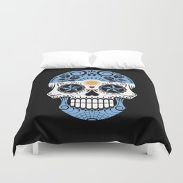 Sugar Skull with Roses and Flag of Argentina Duvet Cover