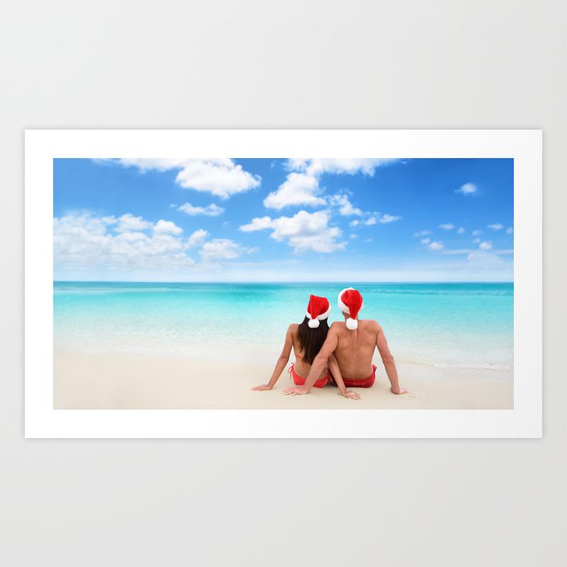 Christmas Beach.Christmas Beach Vacation Couple Relaxing In Santa Hats On Caribbean Holidays Art Print