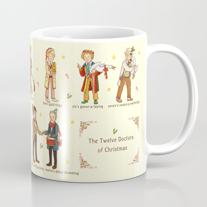 Christmas Coffee Mugs.The Twelve Doctors Of Christmas Coffee Mug
