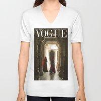 vogue V-neck T-shirts featuring VOGUE INDIA by ArpanDholi
