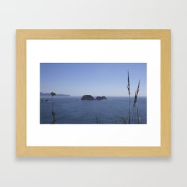 three arches from cape meares Framed Art Print