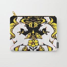 TWO UNICORNS & FLOWERS IN BLACK-GOLD ART Carry-All Pouch