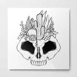 GROW - Succulents in a skull Metal Print