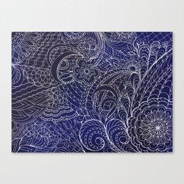 transparent white zen pattern dark blue gradient Canvas Print