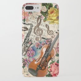 Vintage pink bohemian roses classical notes musical instruments iPhone Case