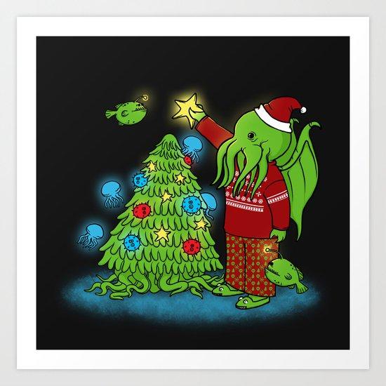 Cthulhu's Happy Holidays Art Print