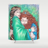 merida Shower Curtains featuring Merida and Elinor (version 2) by Kimberly Castello