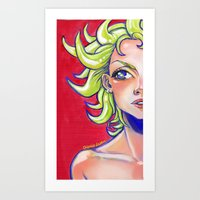 Girl with the Curly Hair (no border) Art Print