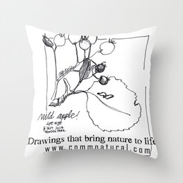 Near the origin of apples: a pen & ink drawing from Cyprus Throw Pillow