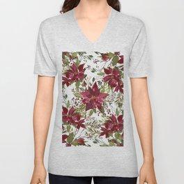 Poinsettia Flowers Unisex V-Neck