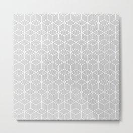 Grey Geometric Pattern Metal Print
