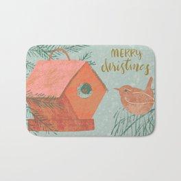 Merry Christmas Wren with Bird House Bath Mat
