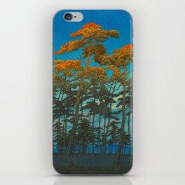 Vintage Japanese Woodblock Print Art Print Tall Sunset Trees Silhouette Twilight Forest East Asian iPhone Skin
