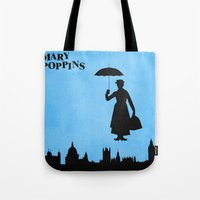 mary poppins Tote Bags featuring Mary Poppins by TheWonderlander