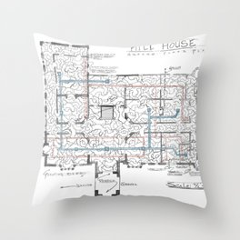 Haunting of Hill House Blueprint Throw Pillow