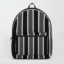 Large Black White and Grey Bedding Stripe Backpack