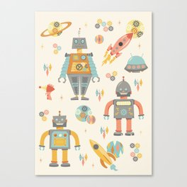 Vintage Inspired Robots in Space Canvas Print