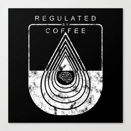 Caffeine on the Brain // B&W Regulated by Coffee Espresso Drip Distressed Living Graphic Design Canvas Print