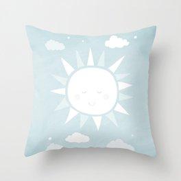Happy Sunshine Nursery Art Throw Pillow