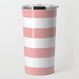 Large Blush Pink and White Cabana Tent Stripes Travel Mug