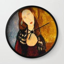 "Amedeo Modigliani ""Jeanne Hebuterne, seated"" Wall Clock"