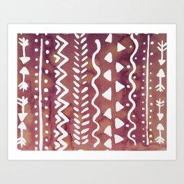 Loose boho chic pattern - purple brown Art Print