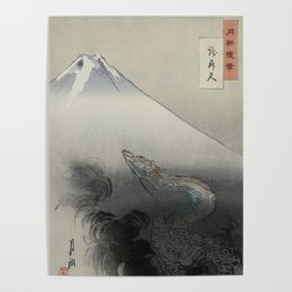 Dragon Rising to the Heavens at Mount Fuji by Ogata Gekko Poster