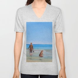 At the beach with the dog Unisex V-Neck