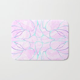 Abstract Mint Pink Flower Pattern Bath Mat