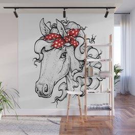 Horse in Red Bandana Wall Mural