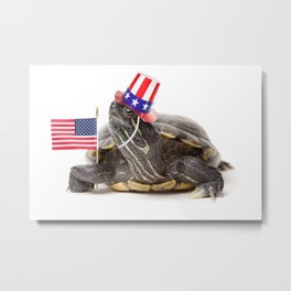 Patriotic Turtle Metal Print