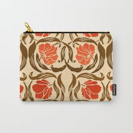 William Morris Pimpernel, Mandarin Orange and Brown Carry-All Pouch