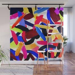 Artsy Vibrant Colorful Brushstroke Explosion Art Wall Mural