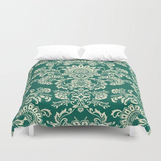 Damask vintage in green Duvet Cover