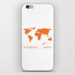 Adventure Map - Retro Orange on White iPhone Skin