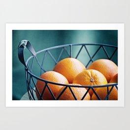 Orange Fruit Photography, Teal Kitchen Photograph,Turquoise Dining Room Photo Print Art Print
