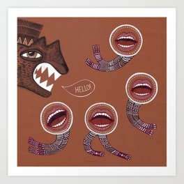 surreal hello with mouth people Art Print