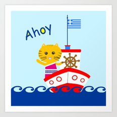 Greek Cat on Sail Art Print