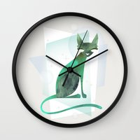 mid century Wall Clocks featuring Mid-Century Feline by a. peterson