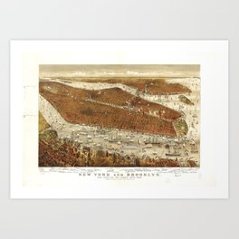 Aerial View of New York and Brooklyn (1875) Art Print