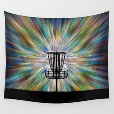 Disc Golf Basket Silhouette Wall Tapestry