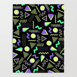 Geometrical retro lime green neon purple 80's abstract pattern Poster