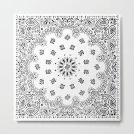 Bandana - White - Paisley - Southwestern Metal Print