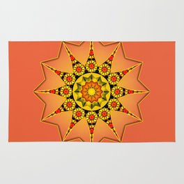 Coral sunflower abstract Rug