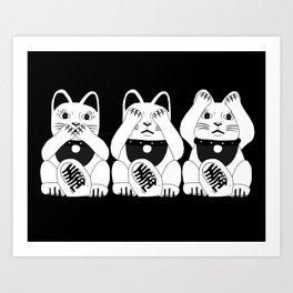 Three Smart Cats Art Print