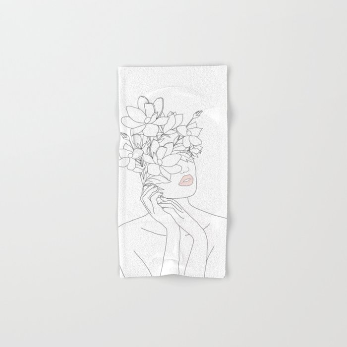 Minimal Line Art Woman with Magnolia Hand & Bath Towel