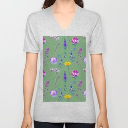 Violet lilac blue modern watercolor floral Unisex V-Neck